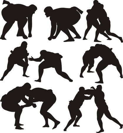 sumo wrestlers silhouettes and icon