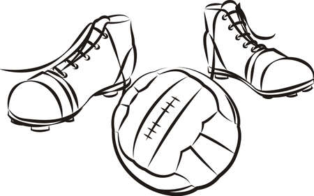 soccer or football vintage boots and ball