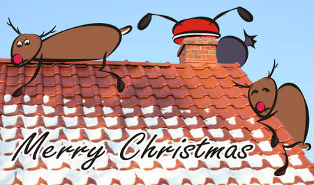 christmas card - santa in the roof and frightened reindeer