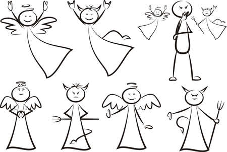 Angel and devil - vector outlines silhouettes and icon.