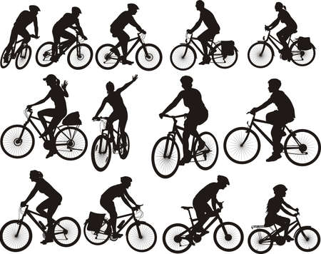 bike silhouettes - cycling and cyclists icon