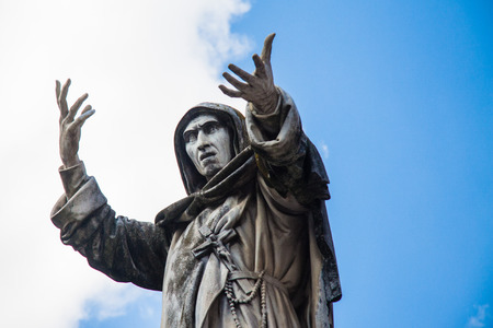 inquisition: Statue of Savonarola Stock Photo