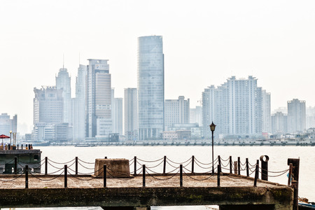 dealings: wharf in Shanghai with skyscrapers in the background Stock Photo