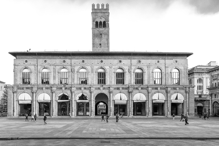 portico: Bologna, Italy - December 28, 2015: Palazzo del Podestà, located in the historic center of Bologna, Italy. It is visited by many tourists from all over the world.