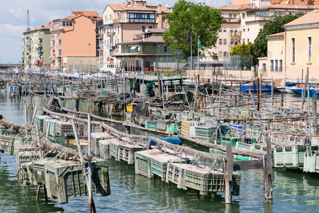 the little venice: cages for shellfish fishing in Chioggia, the little Venice