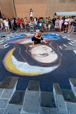 busker: FERRARA, Italy - August 27, 2016: Buskers Festival 2016 in Ferrara, Emilia Romagna, Italy. Busker Festival is a popular event with street artists Which is held annually in the historic center of Ferrara