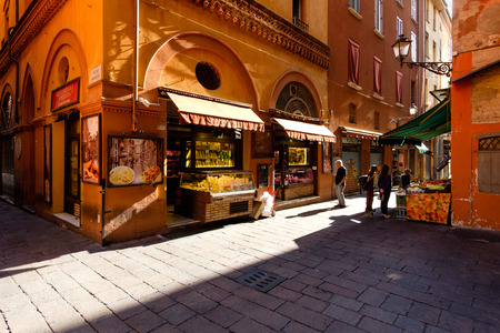 the local characteristics: Bologna, Italy -September 04, 2016: Grocery stores in the Quadrilatero in Bologna. The Quadrilatero in Bologna, Italy, is an area enclosed by four roads, famous in all the way to the grocery stores with quality products
