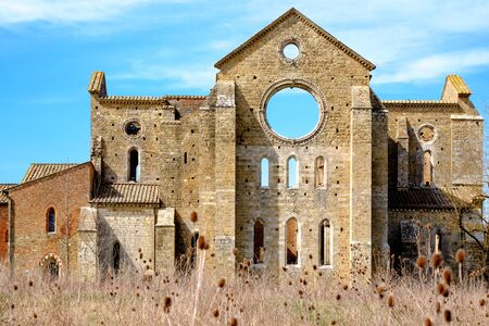 Ancient abbey of San Galgano in Tuscany, Italy. It located about thirty kilometers from the medieval city of Siena