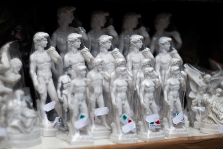 Copies of Michelangelo's David, on sale in the tourist stalls of Florence, Italy Editorial