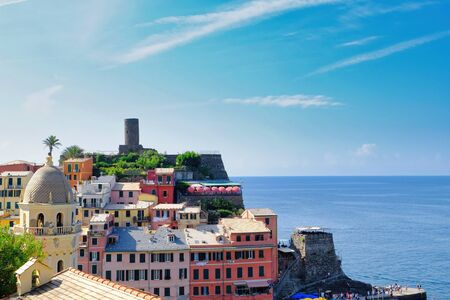 Vernazza, Italy- September 18, 2018: View of the city in the Ligurian sea of the ancient and typical Cinque Terre village in summer