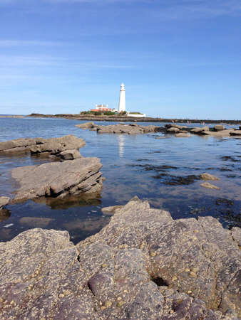 mary's: St. Marys Lighthouse, Whitley Bay in Northumberland  Stock Photo