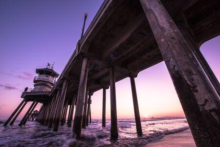 huntington beach: An evening in Huntington Beach, CA Stock Photo
