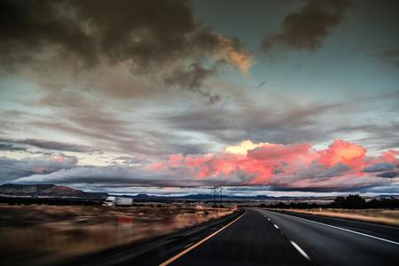 speeding: Sunset from speeding car Stock Photo