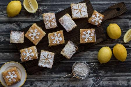 lemon squares flat lay.