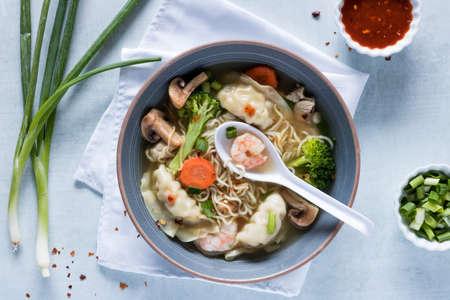 Wor Wonton soup. Banco de Imagens