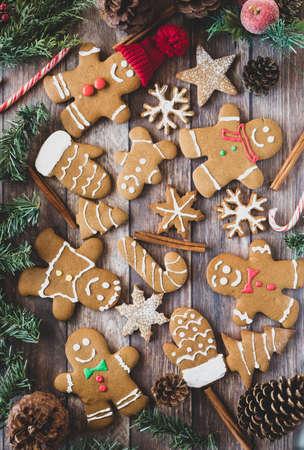 진저 쿠키의 크리스마스 배경입니다. 스톡 콘텐츠