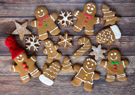 An assortment of gingerbread cookies.