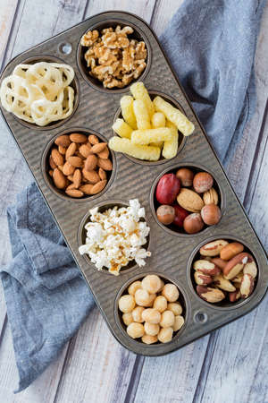 Flat lay of a variety of snacks.
