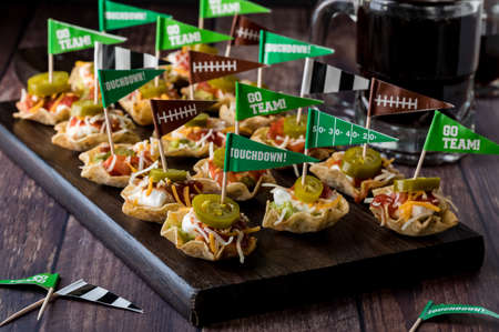 Platter of game day appetizers.