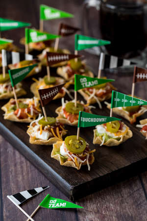 Appetizers on a platter for Super Bowl.