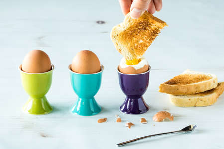 eggs in egg cups with toast. Banco de Imagens