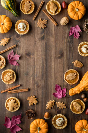 Top down view of various pumpkin pie tarts and fall decorations with copy space in the middle. Фото со стока