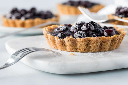 Delicious blueberry tarts ready for eating. Standard-Bild