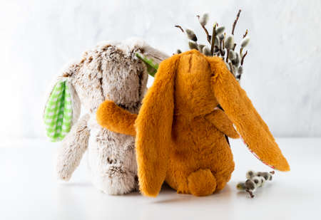 Close up of stuffed bunnies hugging and holding a bouquet of pussy willows. A spring and Easter concept.