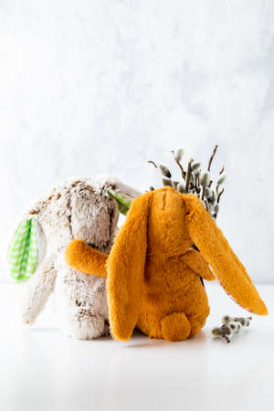 Vertical view of two stuffed bunnies hugging and one holding a bouquet of pussy willows. An Easter and spring concept.
