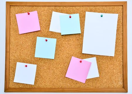 Note Papers Pined On Cork Board photo