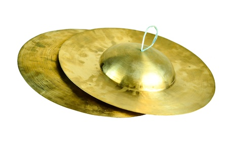 cymbal: Old Style Brass Thai small cymbal isolate on white background Stock Photo