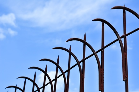 fense: iron fence with a shallow depth of field Stock Photo