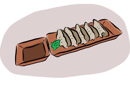 Vector illustation of Japanese cuisine call Gyoza