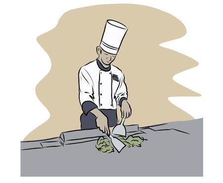 illustation: Vector illustation of Japanese chef cooking