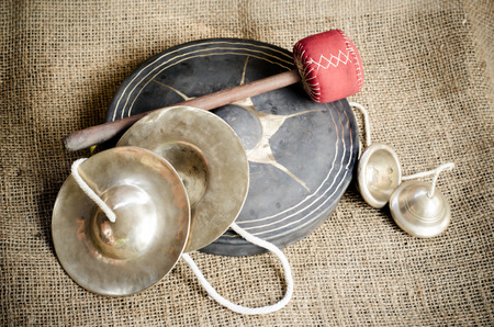 cymbal: Set of Thai cymbal, Ching Chab and Gong on brown sack