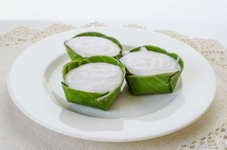 thai dessert: Thai dessert pudding with coconut toping Stock Photo
