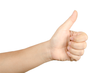 sign up: Image of hand sign isolate on white background Stock Photo