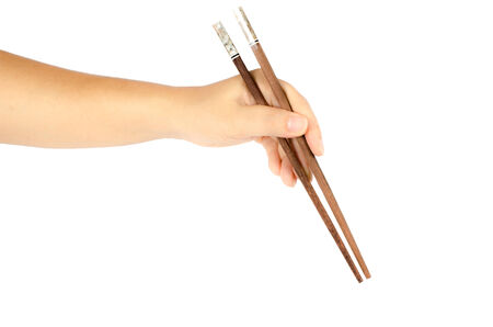 chop stick: Hand with chopstick isolate on white background