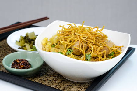 soi: Khoa soi - spicy noodle of northern Thai food Stock Photo