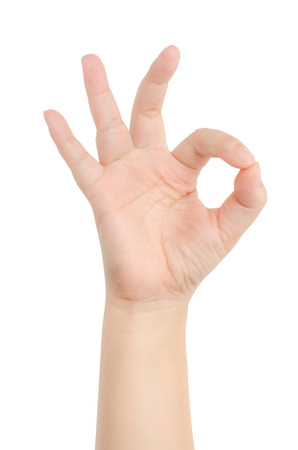 allright: Image of hand sign isolate on white background Stock Photo