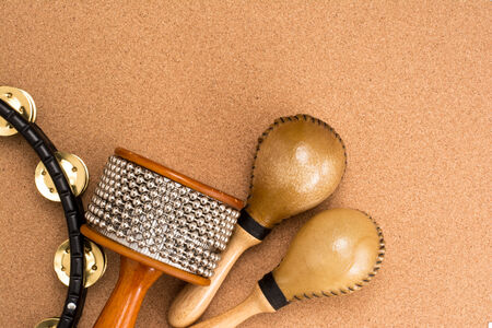 Image of percussion set on cork background photo