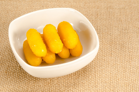 sweetmeat: Thai sweetmeat dessert made from egg and sugar Stock Photo