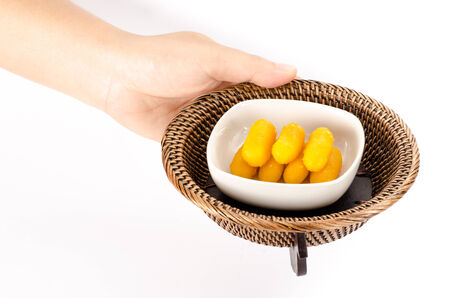 moles: Thai sweetmeat dessert made from egg and sugar Stock Photo