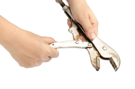 locking pliers hold by hand photo