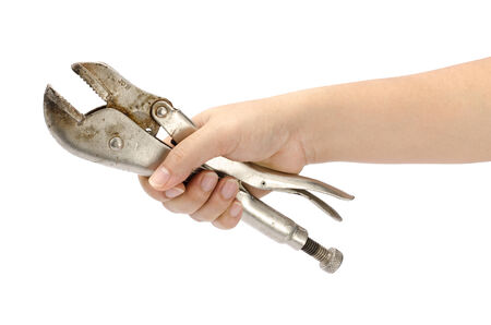 Image of locking pliers hold by hand photo
