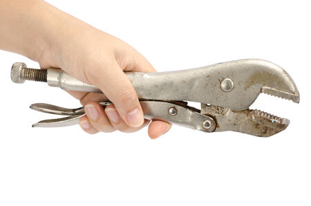 locking: Image of locking pliers hold by hand