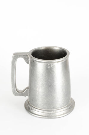 pewter mug: Image of old aluminum beer mug on white background