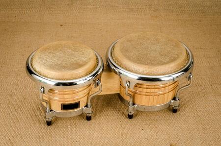 bongo: Image of bongo a latin percussion on brown sack background