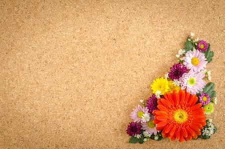 brown cork: Image of full color flowers on brown cork background