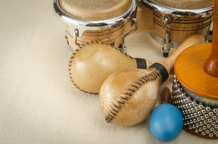 bongo drum: Image of latin percussion set on brown sack background